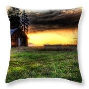 Mountain Sun Behind Barn Throw Pillow