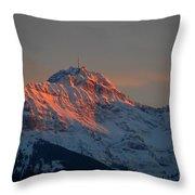Mountain Sunset In Switzerland Throw Pillow
