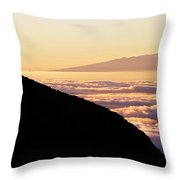 Mountain Top Above The Clouds Throw Pillow