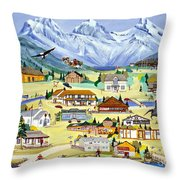Mountain Town Of Canmore Throw Pillow
