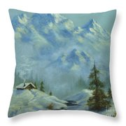 Mountain View With Creek Throw Pillow