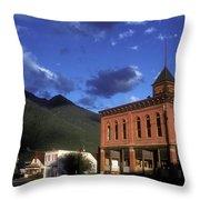Mountain Village Throw Pillow
