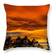 Mountain Wave Cloud Sunset With Pines Throw Pillow