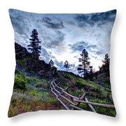 Mountain Wooden Fence  Throw Pillow