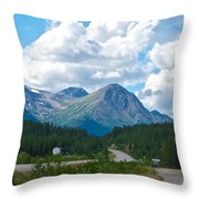 Mountains Along Cassiar Highway In Yt Throw Pillow
