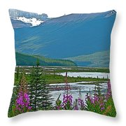 Mountains And Fireweed Along North Sascatchewan River Along Icefield Parkway-ab Throw Pillow