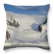 Mountains And Glacier At Sunset Throw Pillow