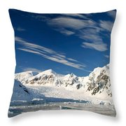 Mountains And Glaciers, Paradise Bay Throw Pillow