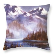 Mountains And Inlet Throw Pillow