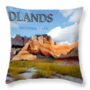 Mountains And Sky In The Badlands National Park  Throw Pillow