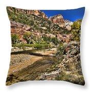 Mountains And Virgin River - Zion Throw Pillow