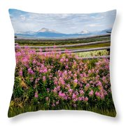 Mountains And Wildflowers Throw Pillow