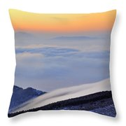 Mountains Clouds At Sunset Throw Pillow