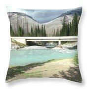 Mountains Green River Under Bridge Throw Pillow