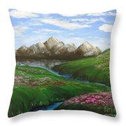 Mountains In Springtime Throw Pillow