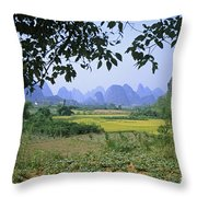 mountains near Yangshou and Guilin  Throw Pillow