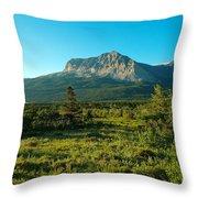 Mountains Of Many Glacier Throw Pillow