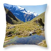 Mountains Of New Zealand Throw Pillow