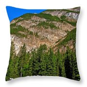 Mountains West Of Kicking Horse Campground In Yoho Np-bc Throw Pillow