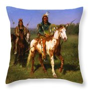 Mounted Indians Carrying Spears Throw Pillow