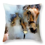 Mounted New York Sunday Throw Pillow