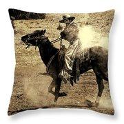 Mounted Shooting Throw Pillow