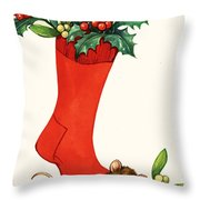Mouse In A Christmas Sock Throw Pillow