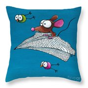 Mouse In His Paper Aeroplane Throw Pillow