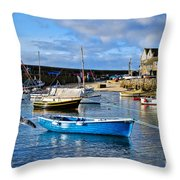 Mousehole Harbour Morning Throw Pillow