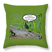 Mouthy Moorhen Anniversary Card Throw Pillow