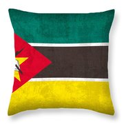 Mozambique Flag Vintage Distressed Finish Throw Pillow