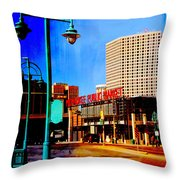 Mpm And Lamp Post Abstract Painting Throw Pillow