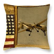 Mq-1 Predator Rustic Flag Throw Pillow