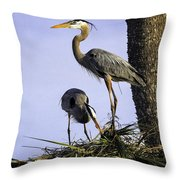 Mr. And Mrs. Heron Throw Pillow