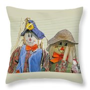Mr And Mrs Scarecrow Throw Pillow