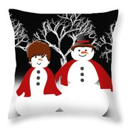 Mr And Mrs Snow 1 Throw Pillow