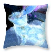 Mr. Blue Bunny Throw Pillow