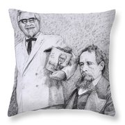 Mr Chicken And Mr Dickens Throw Pillow