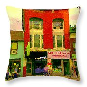 Mr Jordan Mediterranean Food Cafe Cabbagetown Restaurants Toronto Street Scene Paintings C Spandau Throw Pillow by Carole Spandau