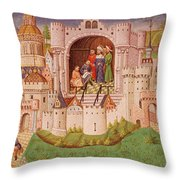 View Of A City With Laborers Paving Roads Leading Up To The City Gates With Cobbles Throw Pillow