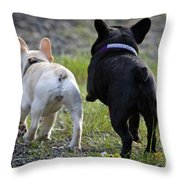 Ms. Quiggly And Buddy French Bulldogs Throw Pillow