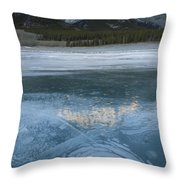 Mt. Abraham And Ice On Abraham Lake Throw Pillow