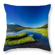 Mt. Bachelor Reflection And Forest Throw Pillow
