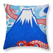 Mt. Fuji And A Red Dragon Throw Pillow