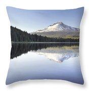 Mt Hood Reflection On Trillium Lake Panorama Throw Pillow