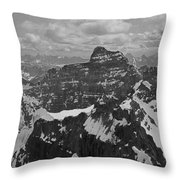T-703512-bw-mt. Hungabee From Summit Of Mt. Lefroy-bw Throw Pillow