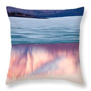 Mt Laurier Mirrored On Lake Laberge Yukon Canada Throw Pillow