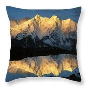 Mt Makalu And Mt Chomolonzo Throw Pillow