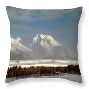 1m9202-mt. Moran, Tetons, Wy Throw Pillow