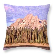 Mt Moran From Colter Bay Throw Pillow